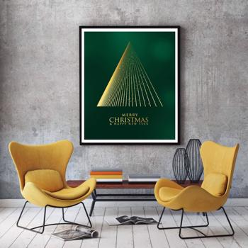 Abstract Gold Christmas Tree